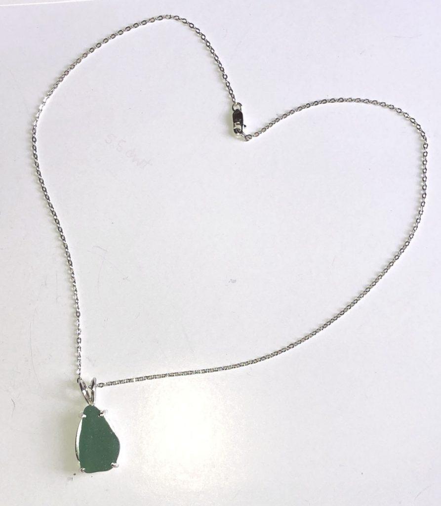 custom sea glass pendant on sterling chain