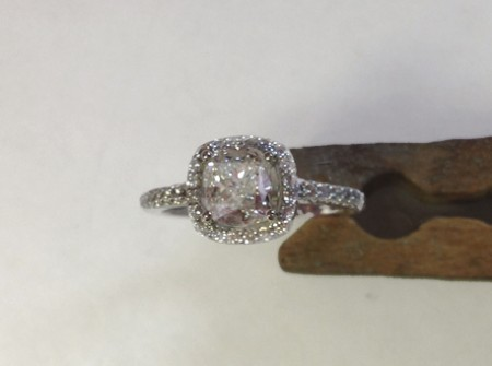 Top view of diamond in engagement ring