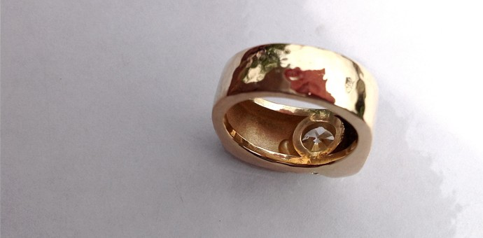 Back view of diamond ring - shows band and texture