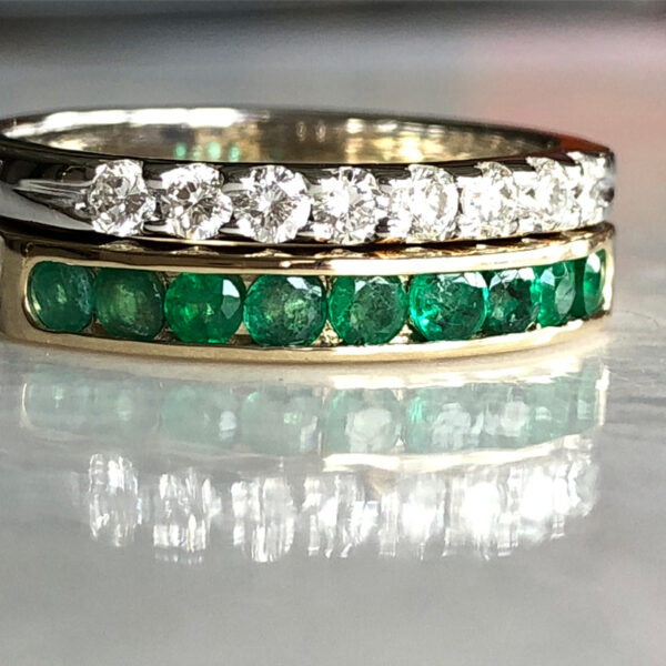 emerald and diamond stack ring after design fix