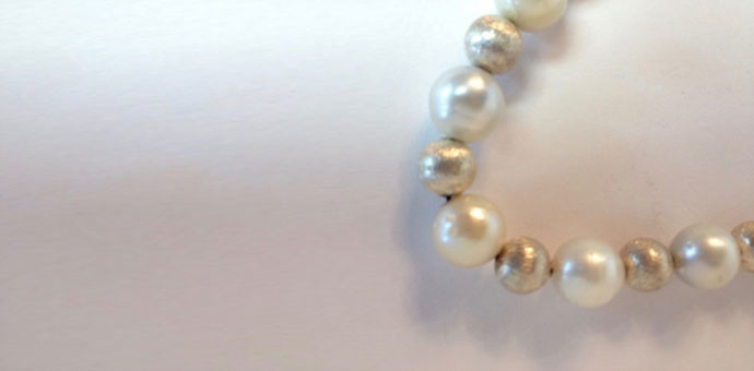detail of silver brushed beads south sea pearl necklace