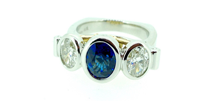 finished diamond stone match  annversary  ring
