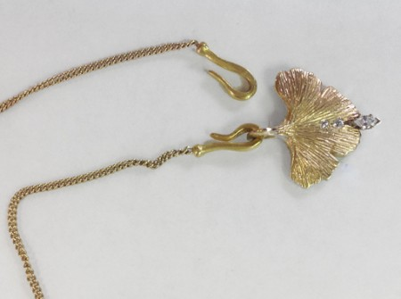 gingko leaf necklace with diamond from RH Weber Jewelry in Connecticut