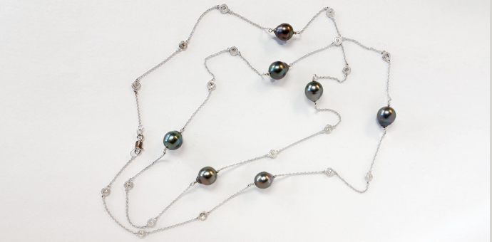 long necklace designed by raimie weber jewelry. tahitian pearls diamond stations silver
