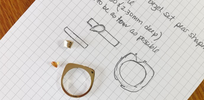 Yellow sapphire and ring form with jeweler