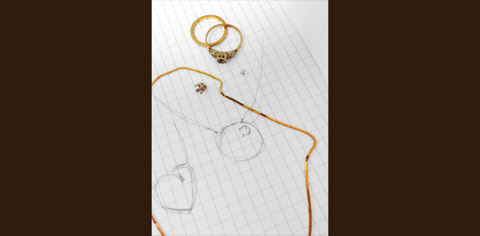 sketch with 2 rings to repurpose into necklace