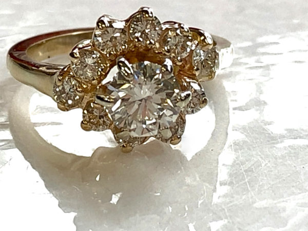 final engagement ring - diamond cluster customized smaller