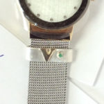 the finished removeable watch band charm with emerald