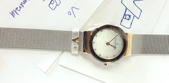 another view of watch band charm - it is removealbe and can be used on another watch or bracelet