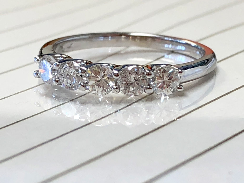 five diamond wedding ring remounted