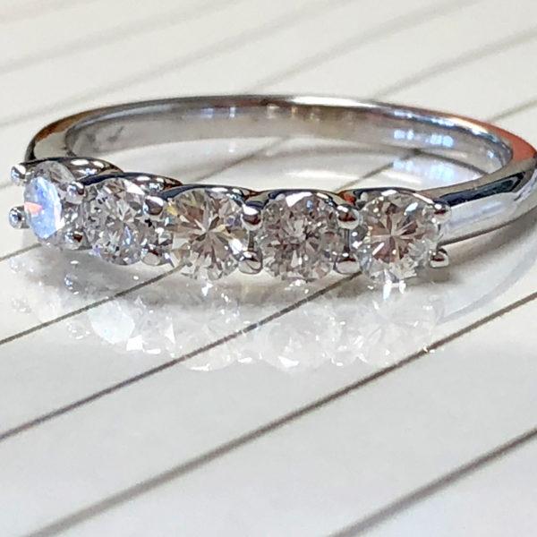 five diamond wedding ring remounted