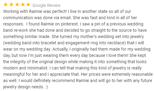 Screenshot of online review (she loves it)