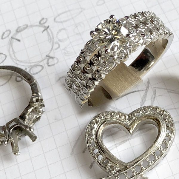 redesigned wedding set with heirlooms used