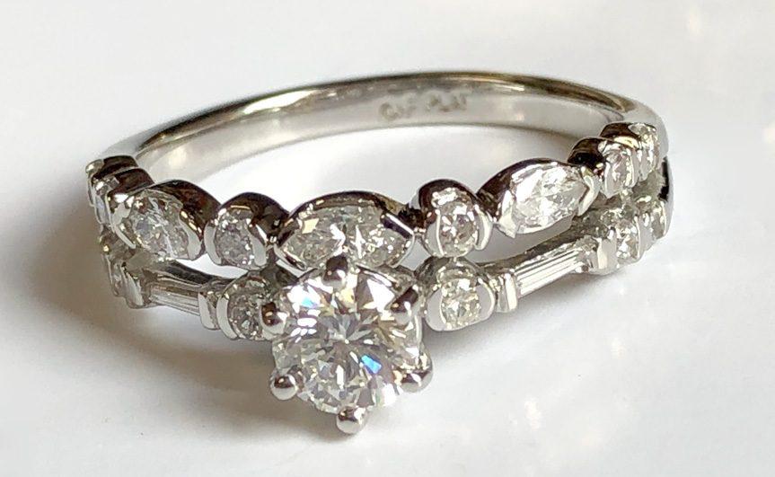 redesigned wedding set with many varied sized diamonds