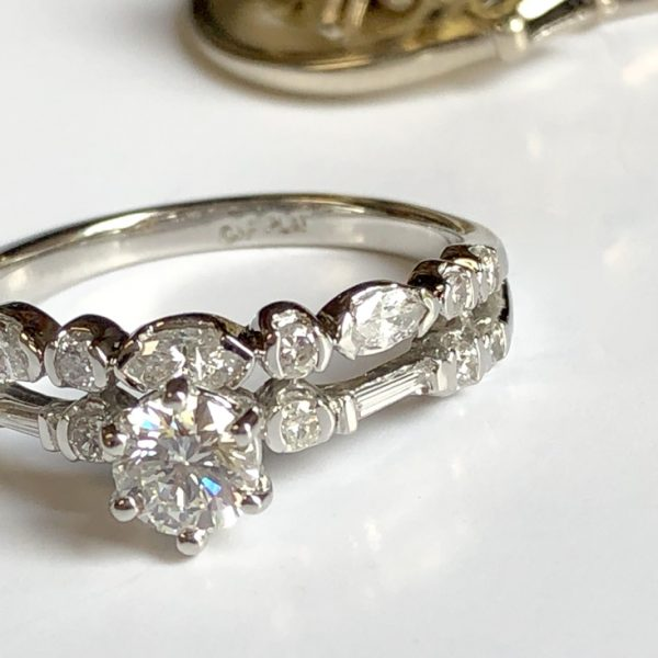 completed redesigned wedding set with many varied sized diamonds