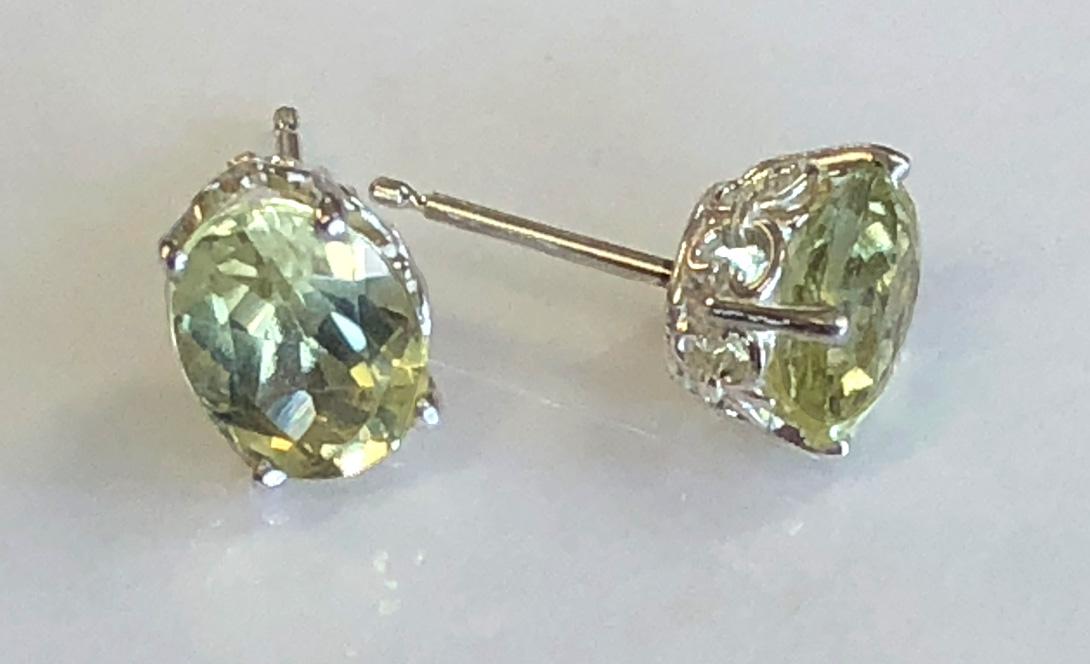 yellow apatite sterling silver fleur d'lisle earrings