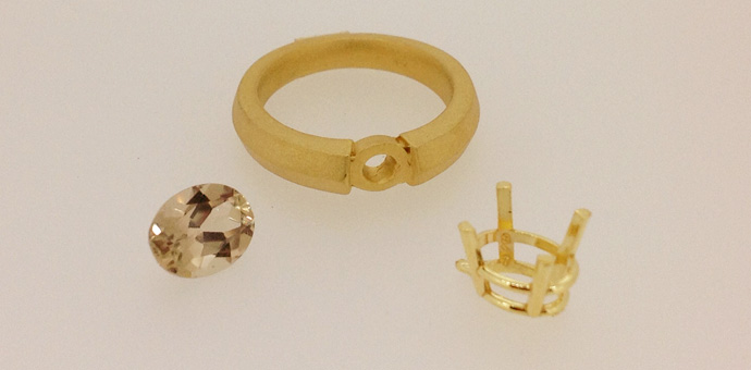 Raimie Weber Jewelery - parts for ring. Stone, setting, gold ring.